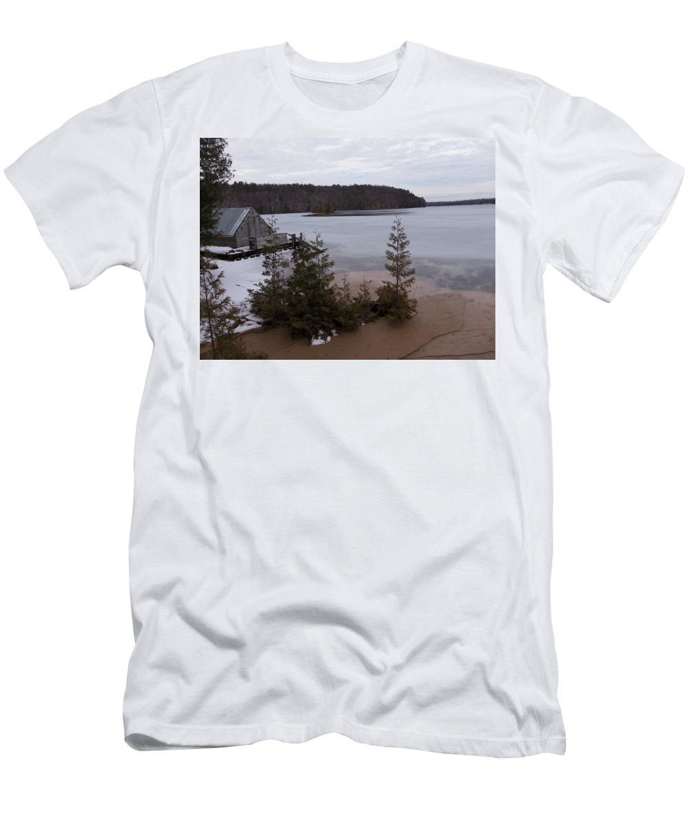 Boat Men's T-Shirt (Athletic Fit) featuring the photograph Hale Michigan by Two Bridges North