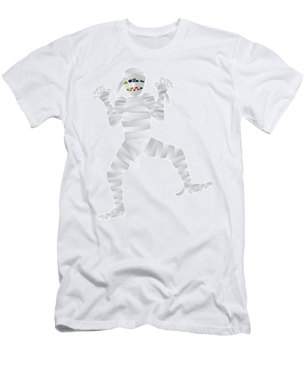Halloween Men's T-Shirt (Athletic Fit) featuring the photograph Halloween Mummy Cartoon Illustration by Jit Lim