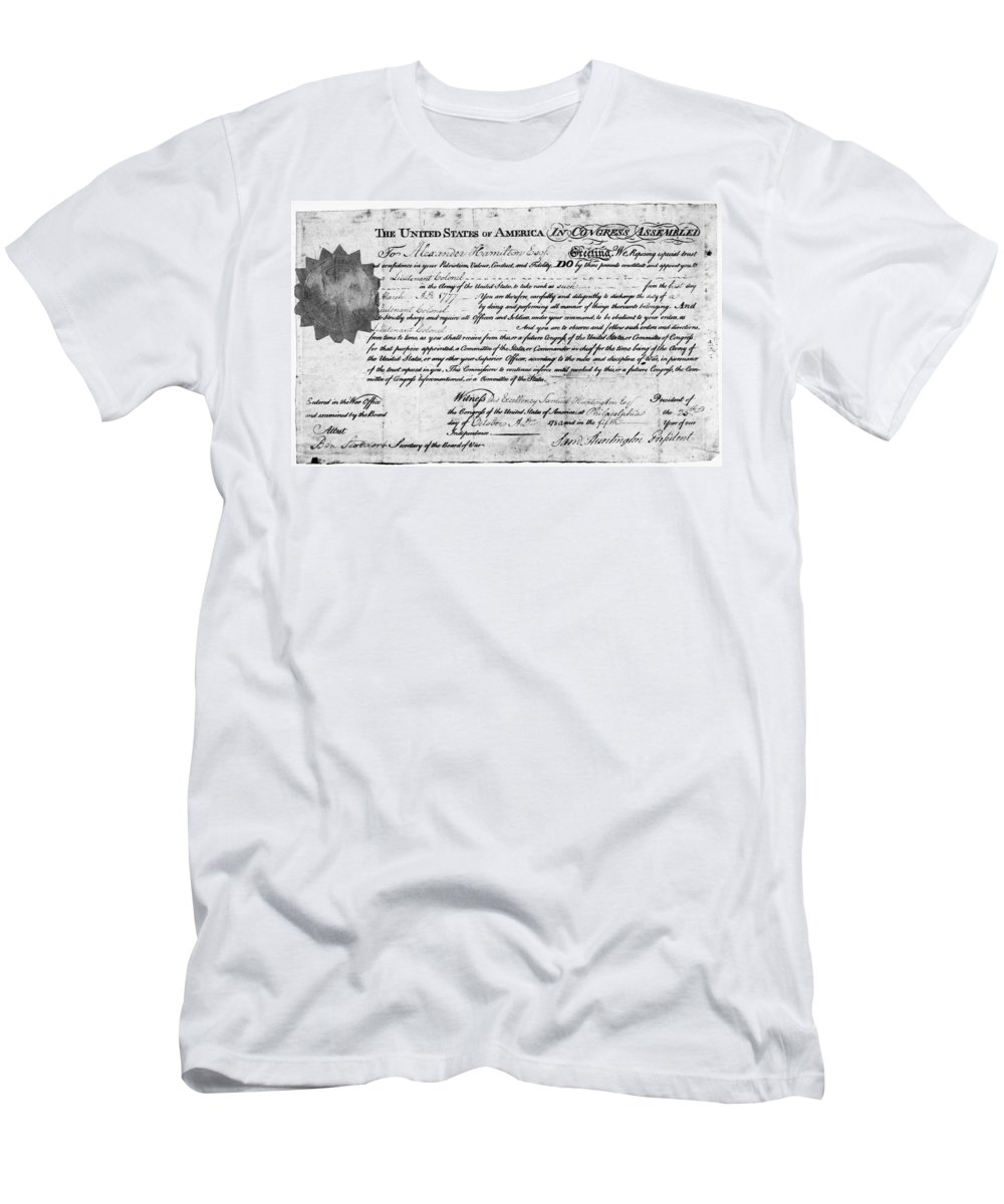 1777 Men's T-Shirt (Athletic Fit) featuring the photograph Hamilton: Appointment, 1777 by Granger