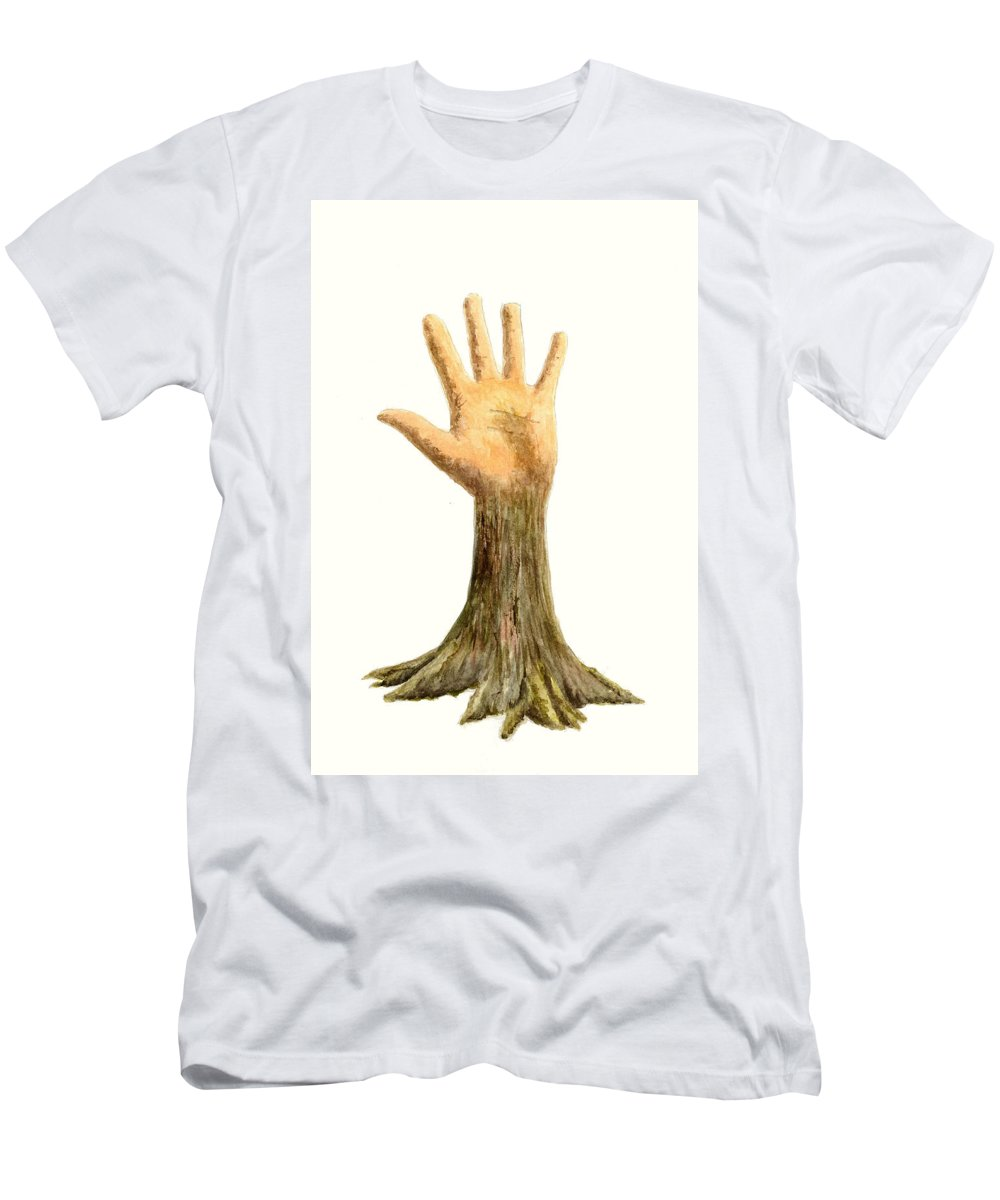 Hand Men's T-Shirt (Athletic Fit) featuring the painting Hand Tree by Michael Vigliotti