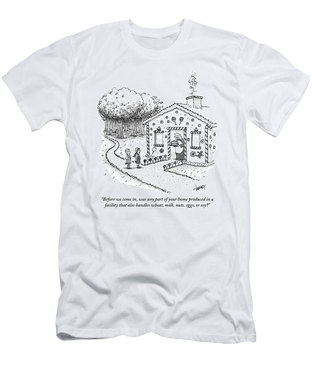 Allergies T-Shirt featuring the drawing Hansel And Gretel Approach A Witch's Gingerbread by Tom Cheney