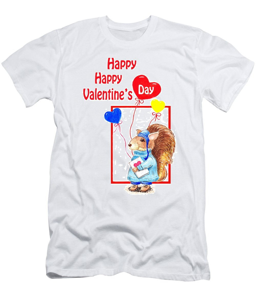 Squirrel Men's T-Shirt (Athletic Fit) featuring the painting Happy Happy Valentines Day by Irina Sztukowski