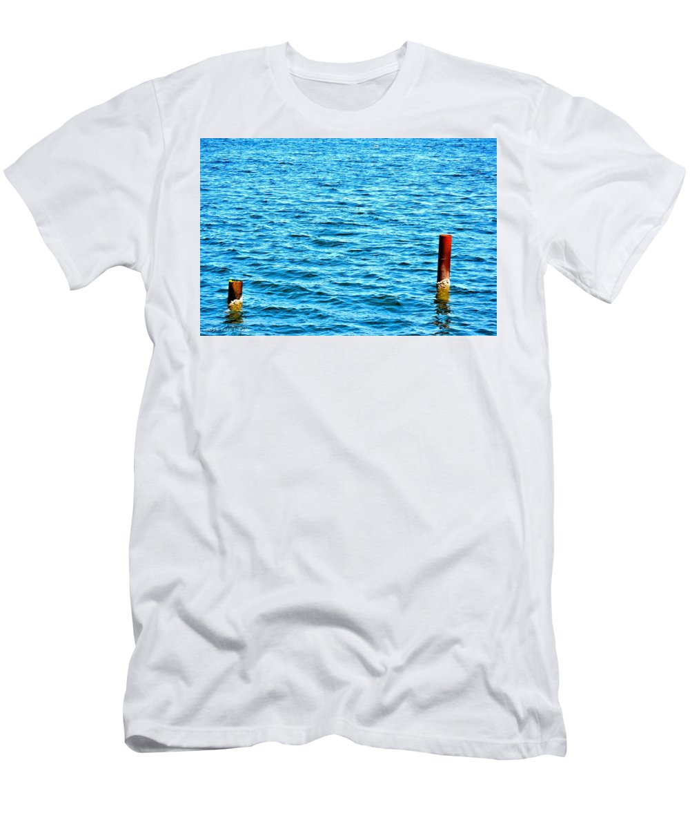 Harbor Markers Men's T-Shirt (Athletic Fit) featuring the photograph Harbor Markers by Tara Potts