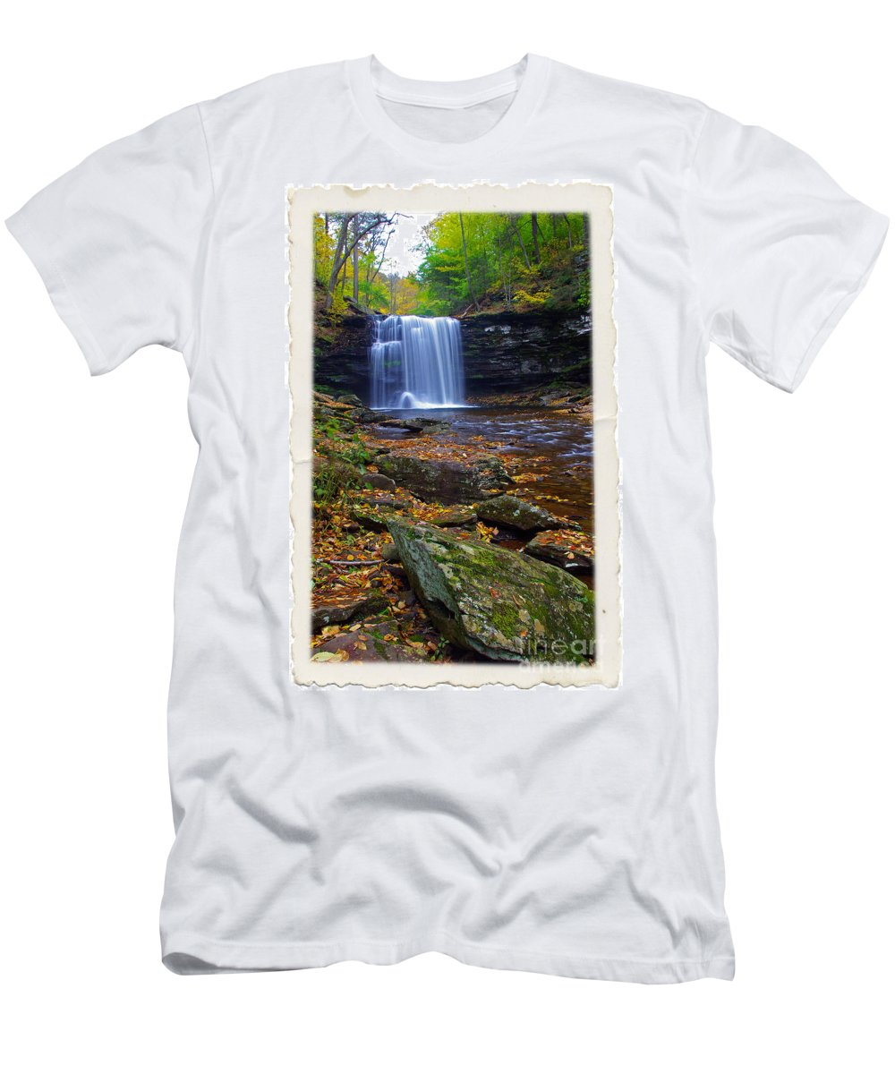 Pennsylvania Men's T-Shirt (Athletic Fit) featuring the photograph Harrison Wright Falls In Autumn by Rich Walter
