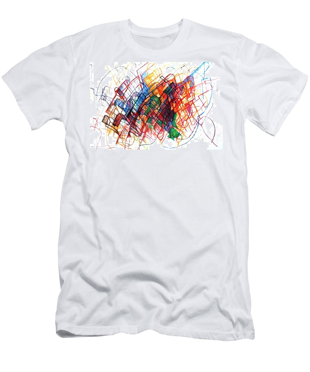 Torah Men's T-Shirt (Athletic Fit) featuring the drawing Harvesting Hope 1 by David Baruch Wolk