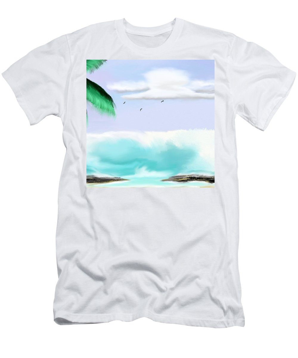 Hawaii Men's T-Shirt (Athletic Fit) featuring the painting Hawaii Waves by Kinepela Smith