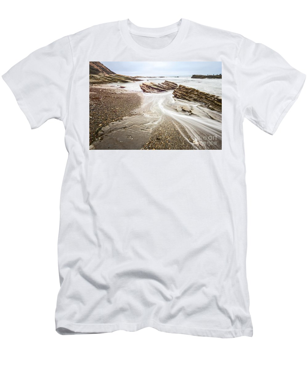 Montana De Oro Men's T-Shirt (Athletic Fit) featuring the photograph Hazard Reef Flow - The Jagged Rocks Montana De Oro State Park by Jamie Pham