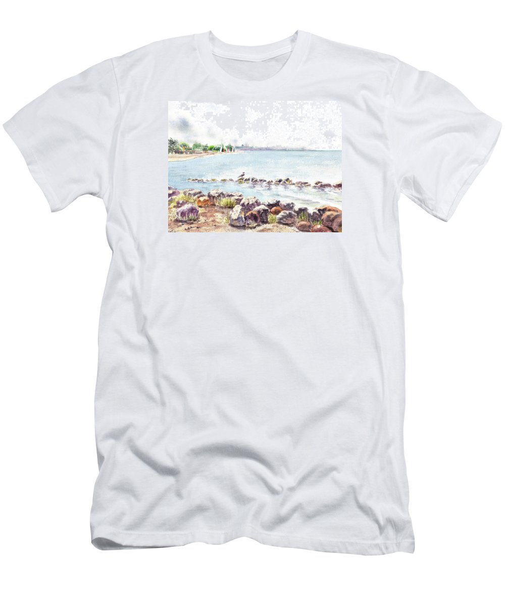 Seascape Men's T-Shirt (Athletic Fit) featuring the painting Hazy Morning At Crab Cove In Alameda California by Irina Sztukowski