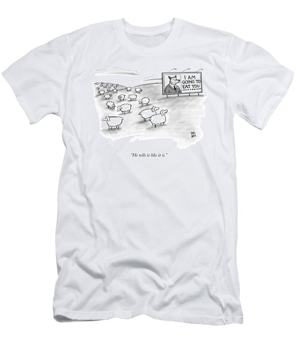 Sheep T-Shirt featuring the drawing He Tells It Like It Is by Paul Noth