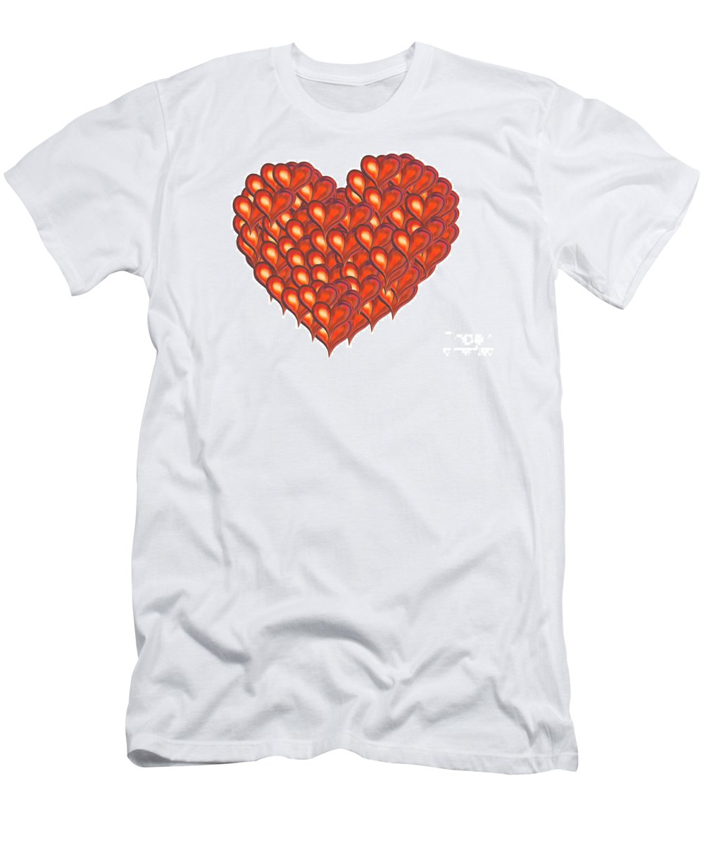 Abstract Men's T-Shirt (Athletic Fit) featuring the painting Heart Of Hearts by Kerstin Ivarsson