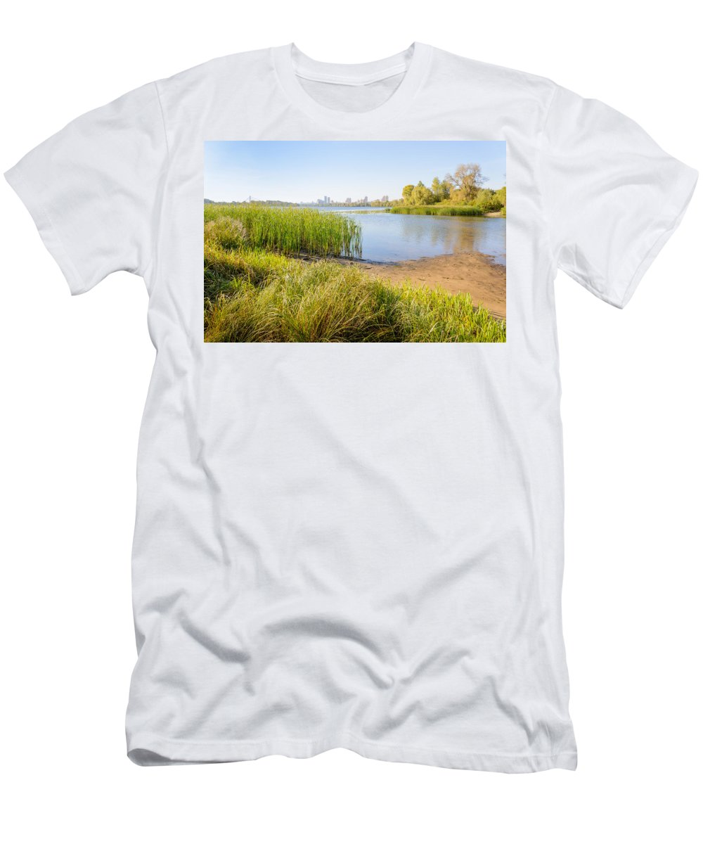 Dnieper Men's T-Shirt (Athletic Fit) featuring the photograph Herbs And Reeds Close To The River by Alain De Maximy