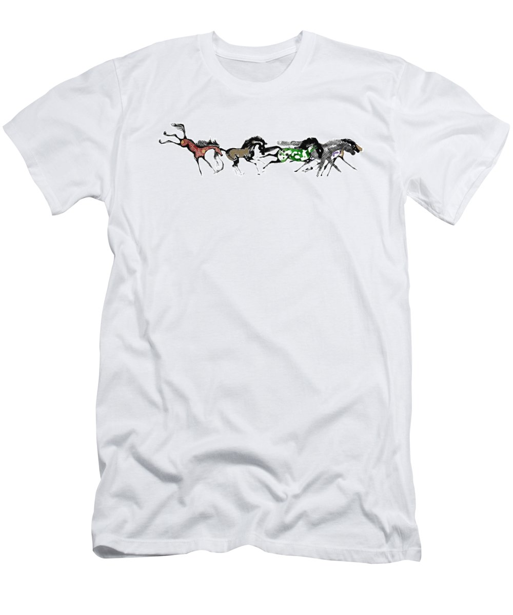 Horses Men's T-Shirt (Athletic Fit) featuring the digital art Herd by Ellsbeth Page