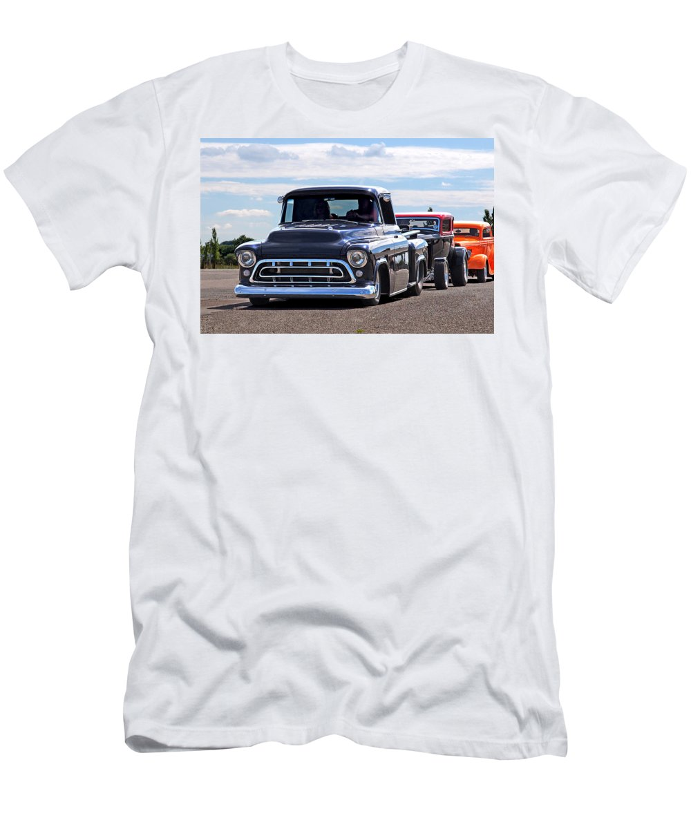 Chevrolet Truck Men's T-Shirt (Athletic Fit) featuring the photograph Here Come The Hot Rod Boys by Gill Billington