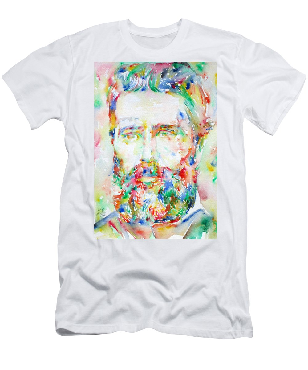 Herman Men's T-Shirt (Athletic Fit) featuring the painting Herman Melville Watercolor Portrait.1 by Fabrizio Cassetta