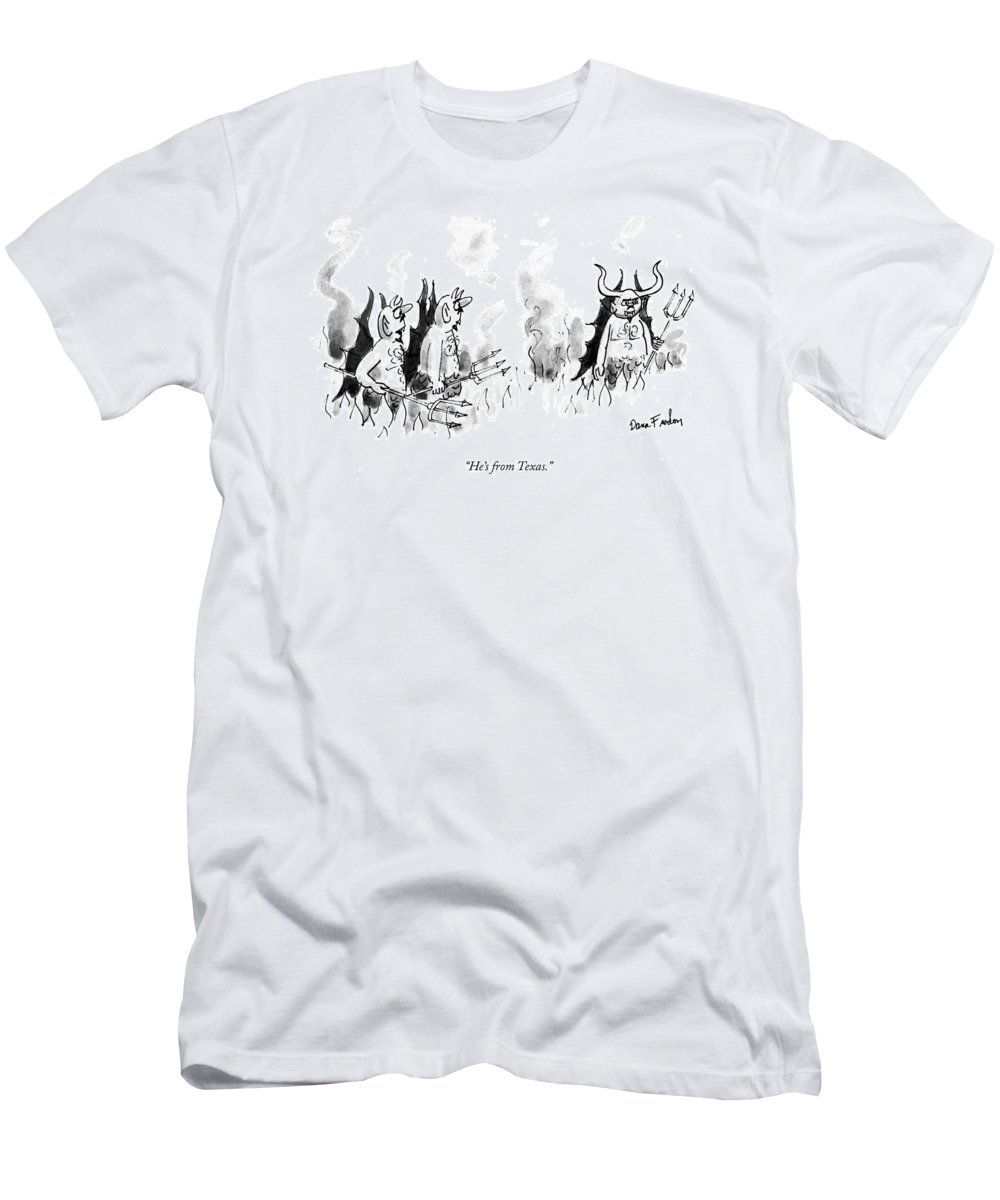 Death T-Shirt featuring the drawing He's From Texas by Dana Fradon