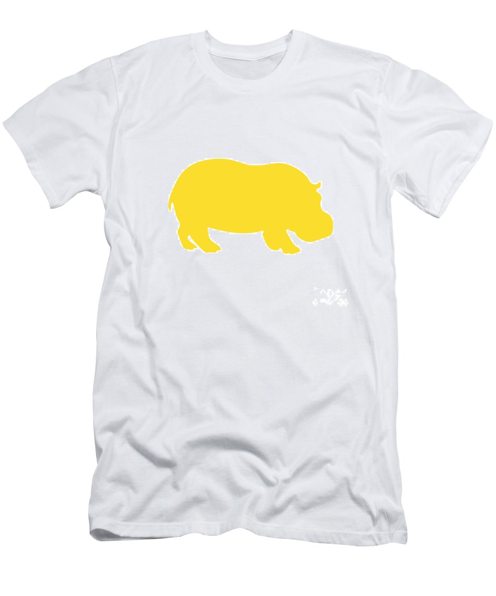 Graphic Art Men's T-Shirt (Athletic Fit) featuring the digital art Hippo In Golden And White by Jackie Farnsworth