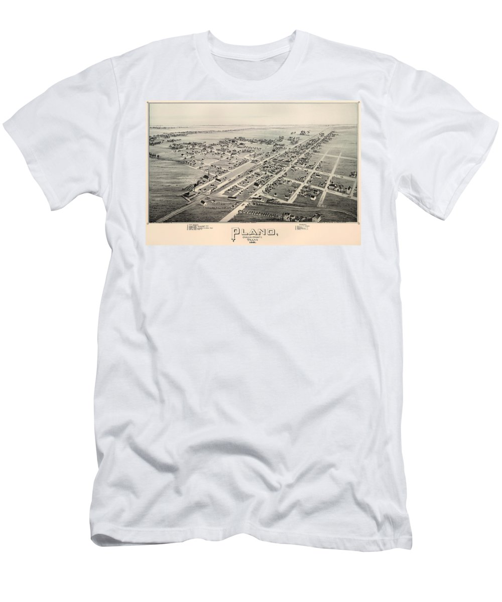 Map Men's T-Shirt (Athletic Fit) featuring the drawing Historic Map Of Plano Texas 1891 by Mountain Dreams