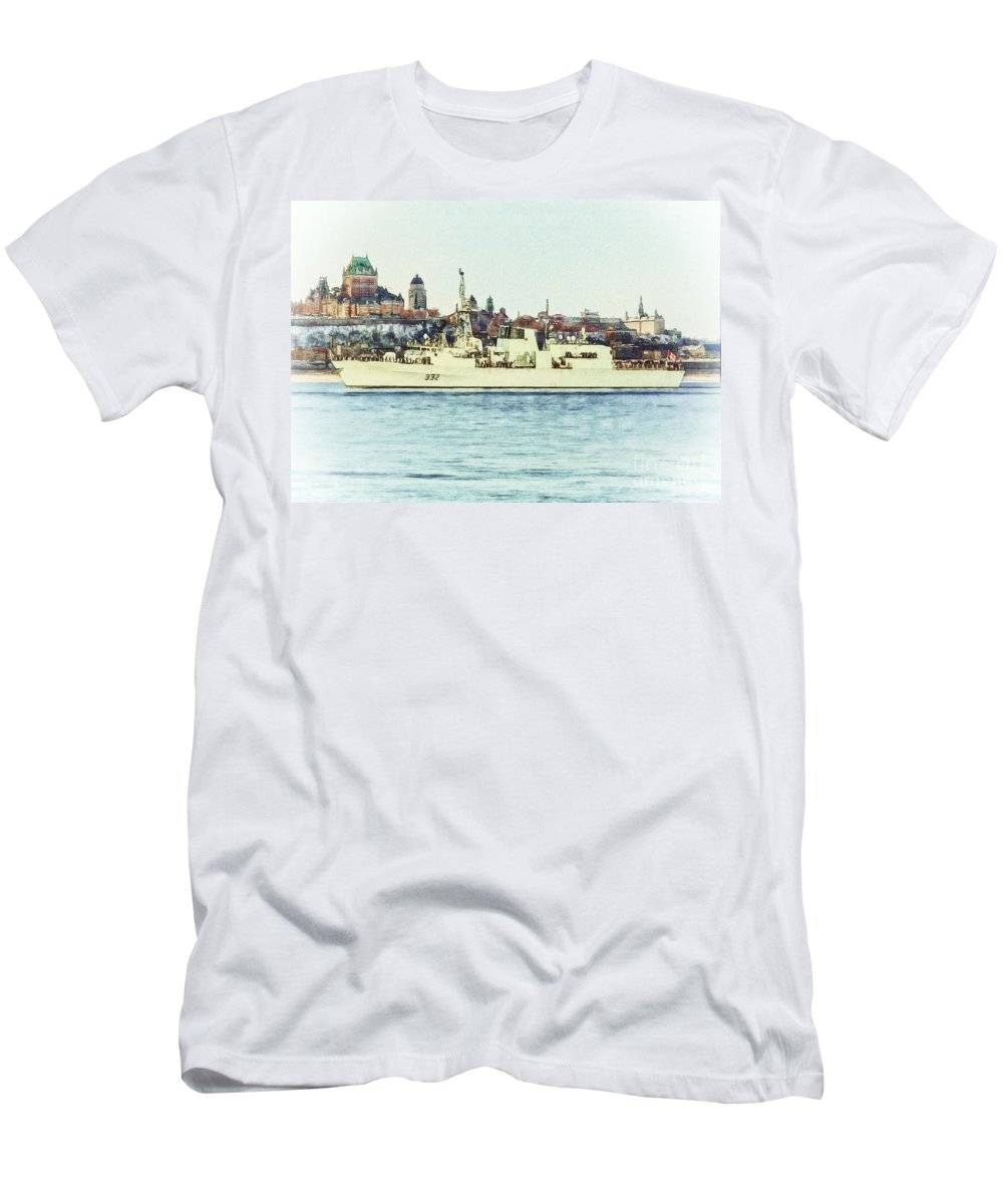 Veterans Men's T-Shirt (Athletic Fit) featuring the digital art Hmcs Ville De Quebec by Shawna Mac