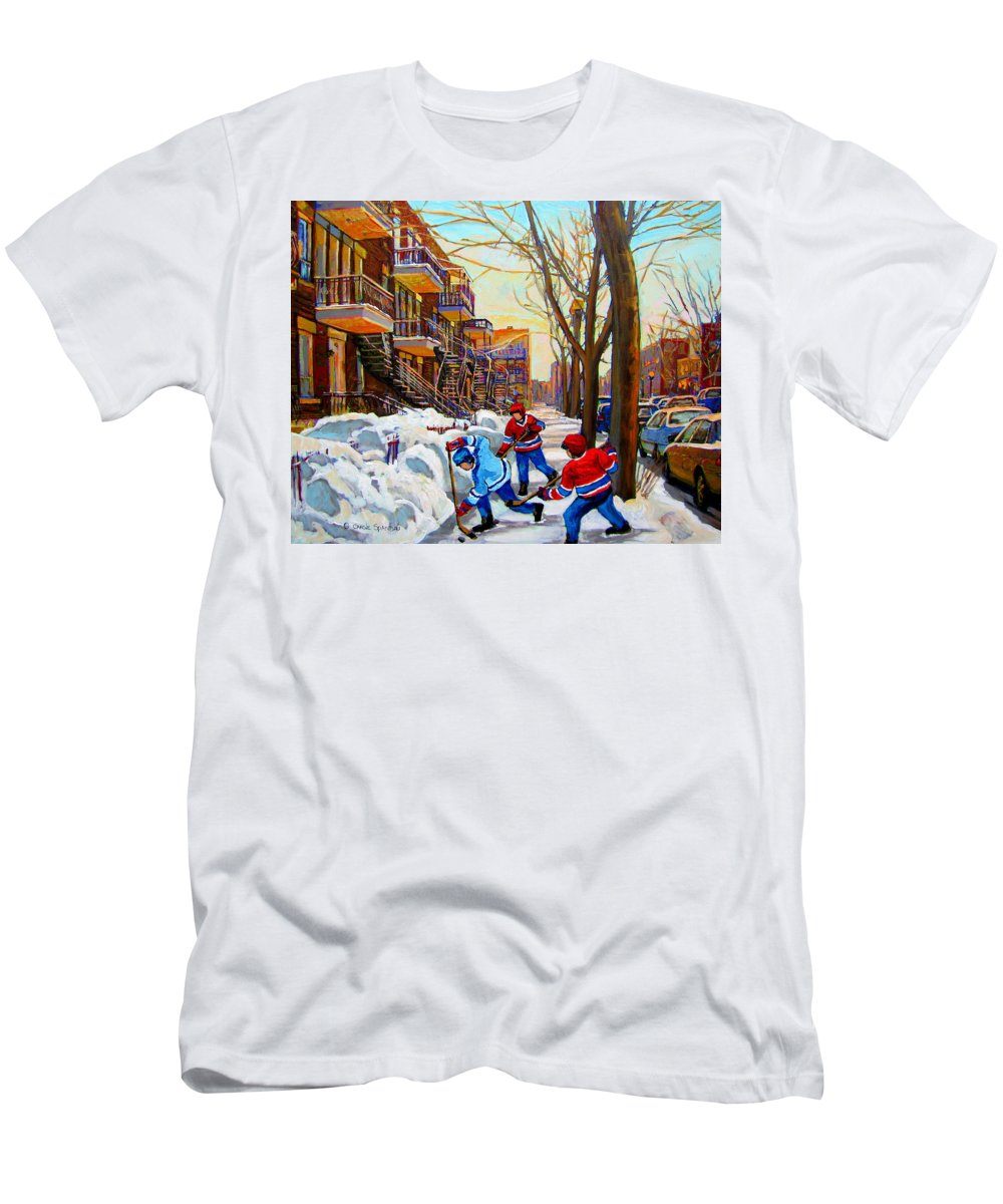 Montreal T-Shirt featuring the painting Hockey Art - Paintings Of Verdun- Montreal Street Scenes In Winter by Carole Spandau