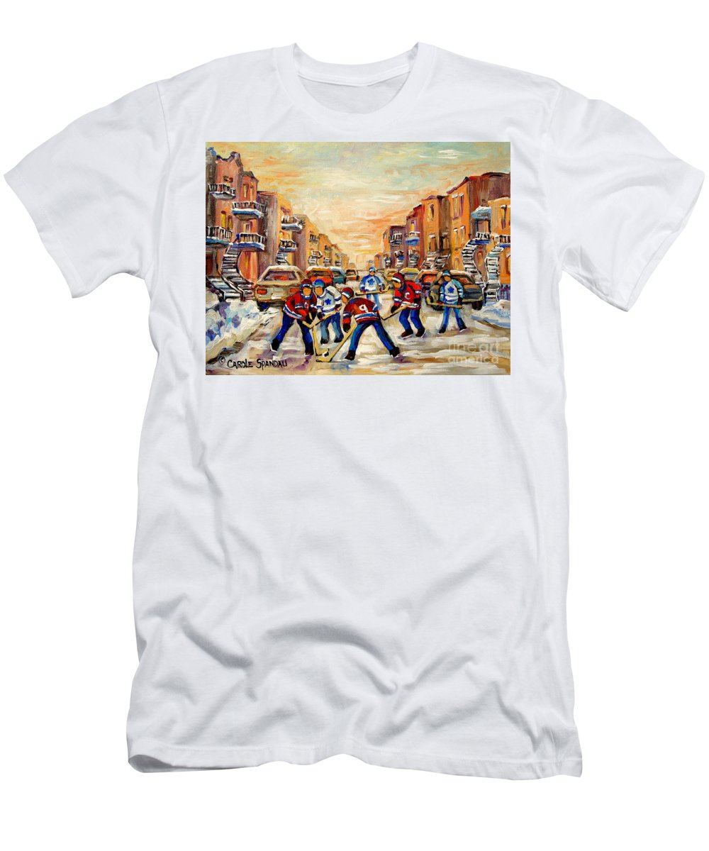Hockey Daze Men's T-Shirt (Athletic Fit) featuring the painting Hockey Daze by Carole Spandau