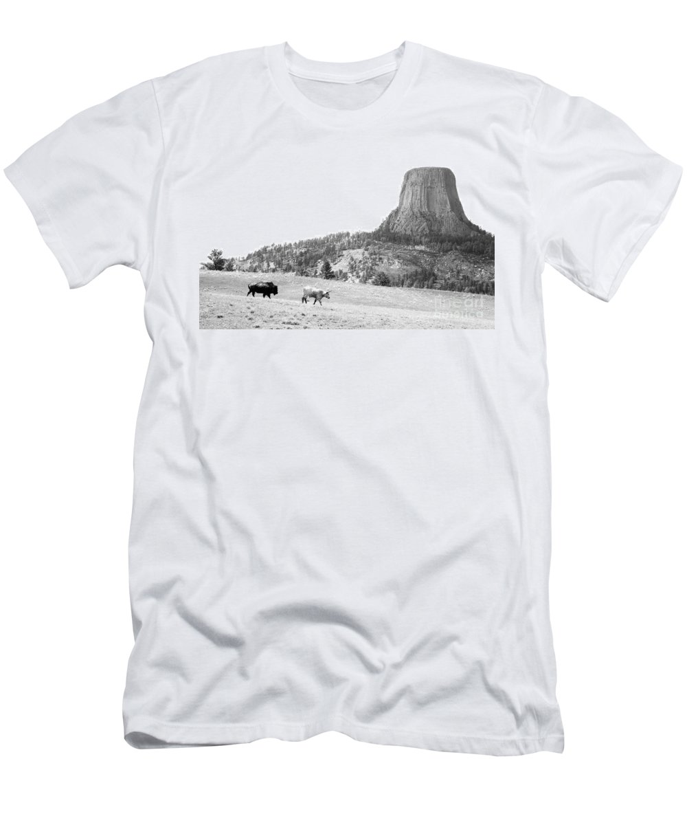 Devils Tower Men's T-Shirt (Athletic Fit) featuring the photograph Home On The Range by Anthony Wilkening