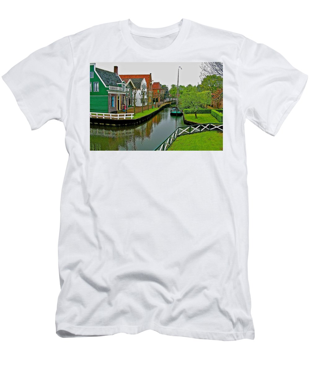 Homes Near The Dike In Enkhuizen Men's T-Shirt (Athletic Fit) featuring the photograph Homes Near The Dike In Enkhuizen-netherlands by Ruth Hager