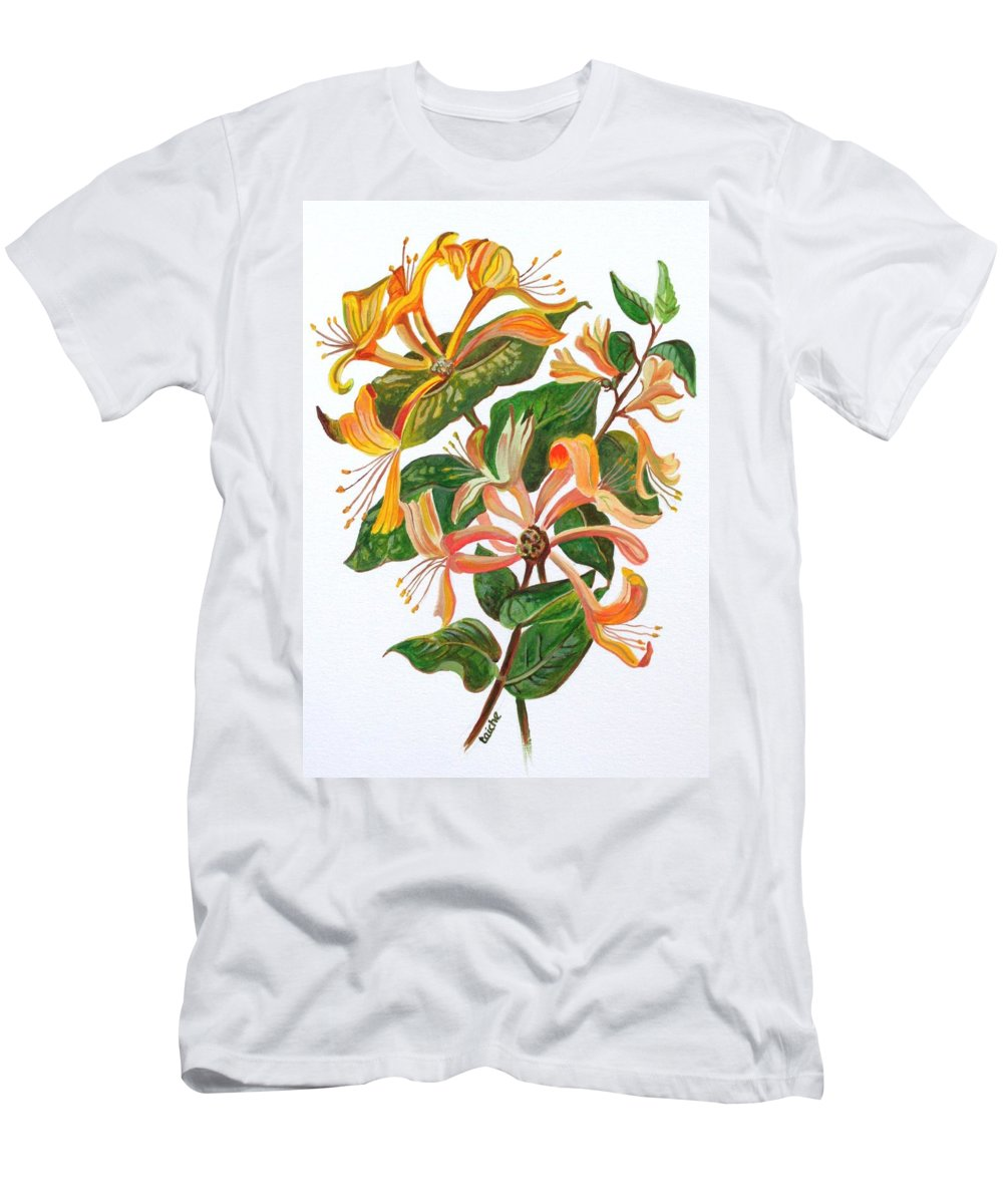 Honeysuckles Men's T-Shirt (Athletic Fit) featuring the painting Honeysuckle by Taiche Acrylic Art