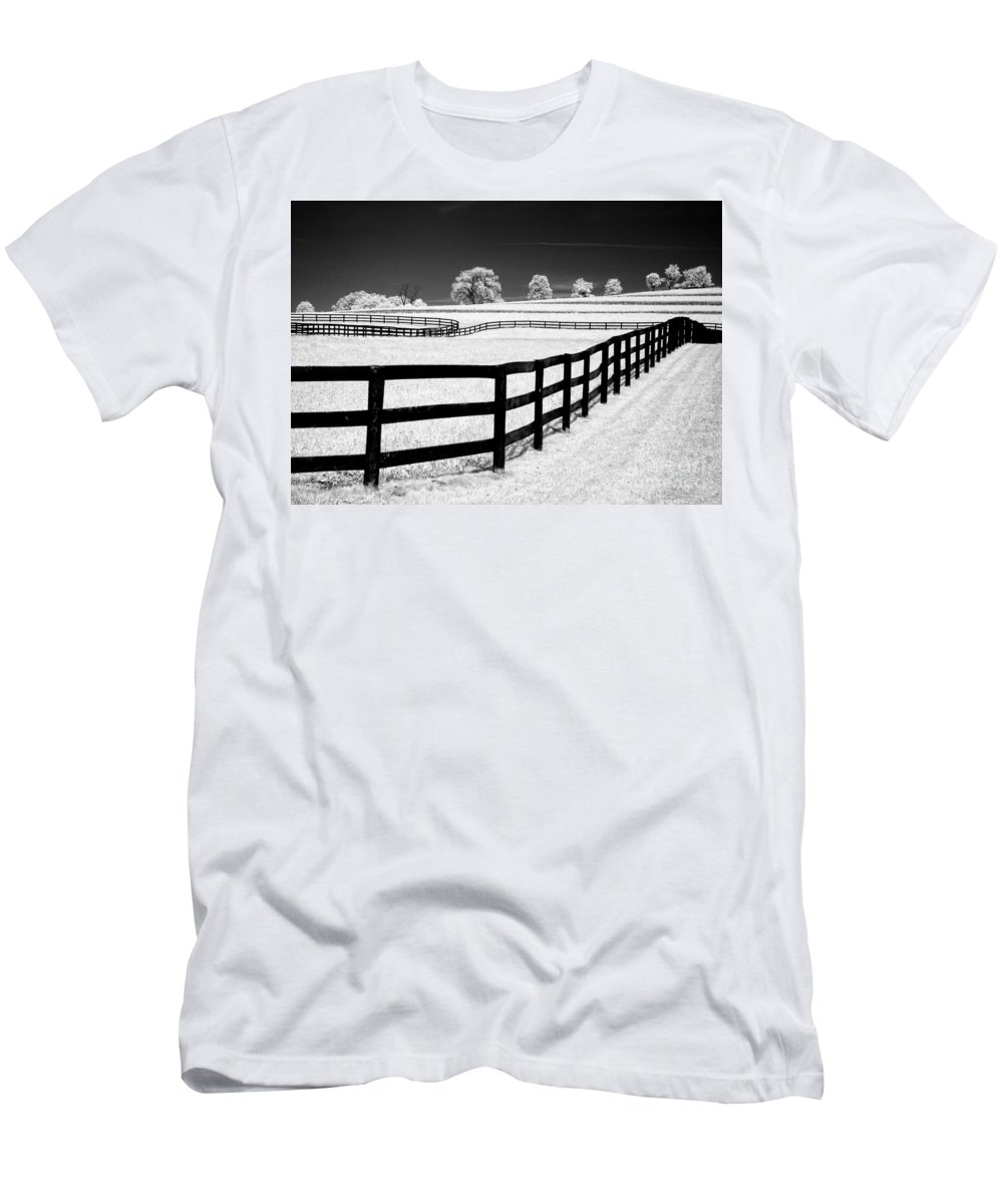 Fences Men's T-Shirt (Athletic Fit) featuring the photograph Horse Country by Claudia Kuhn