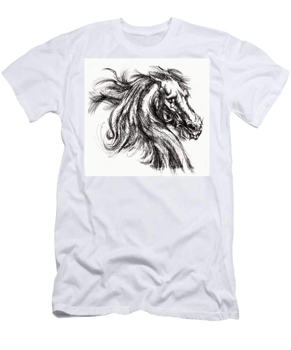 Inventing A Horse Men's T-Shirt (Athletic Fit) featuring the drawing Horse Face Ink Sketch Drawing - Inventing A Horse by Daliana Pacuraru