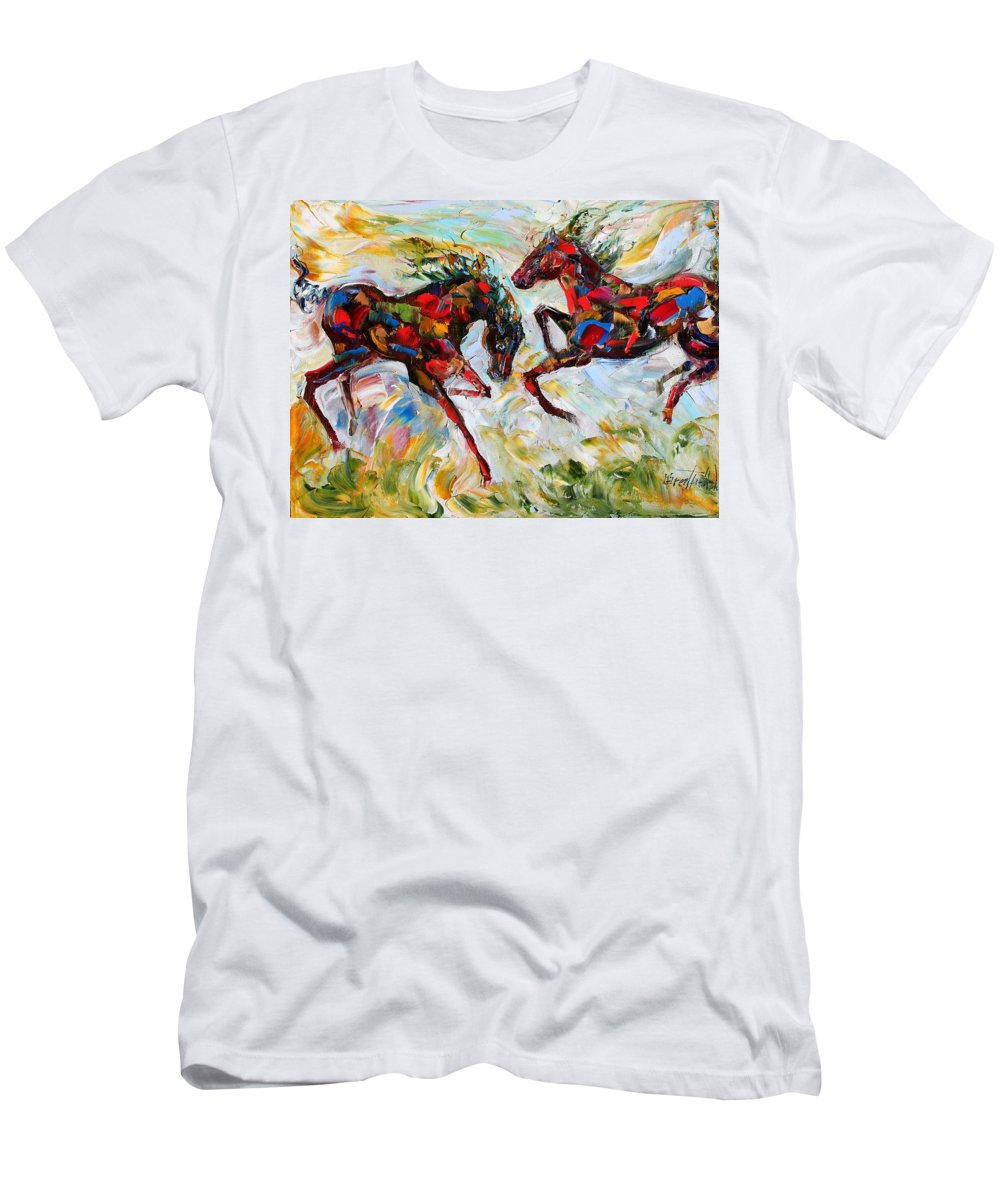 Horse Men's T-Shirt (Athletic Fit) featuring the painting Horse Play by Karen Tarlton