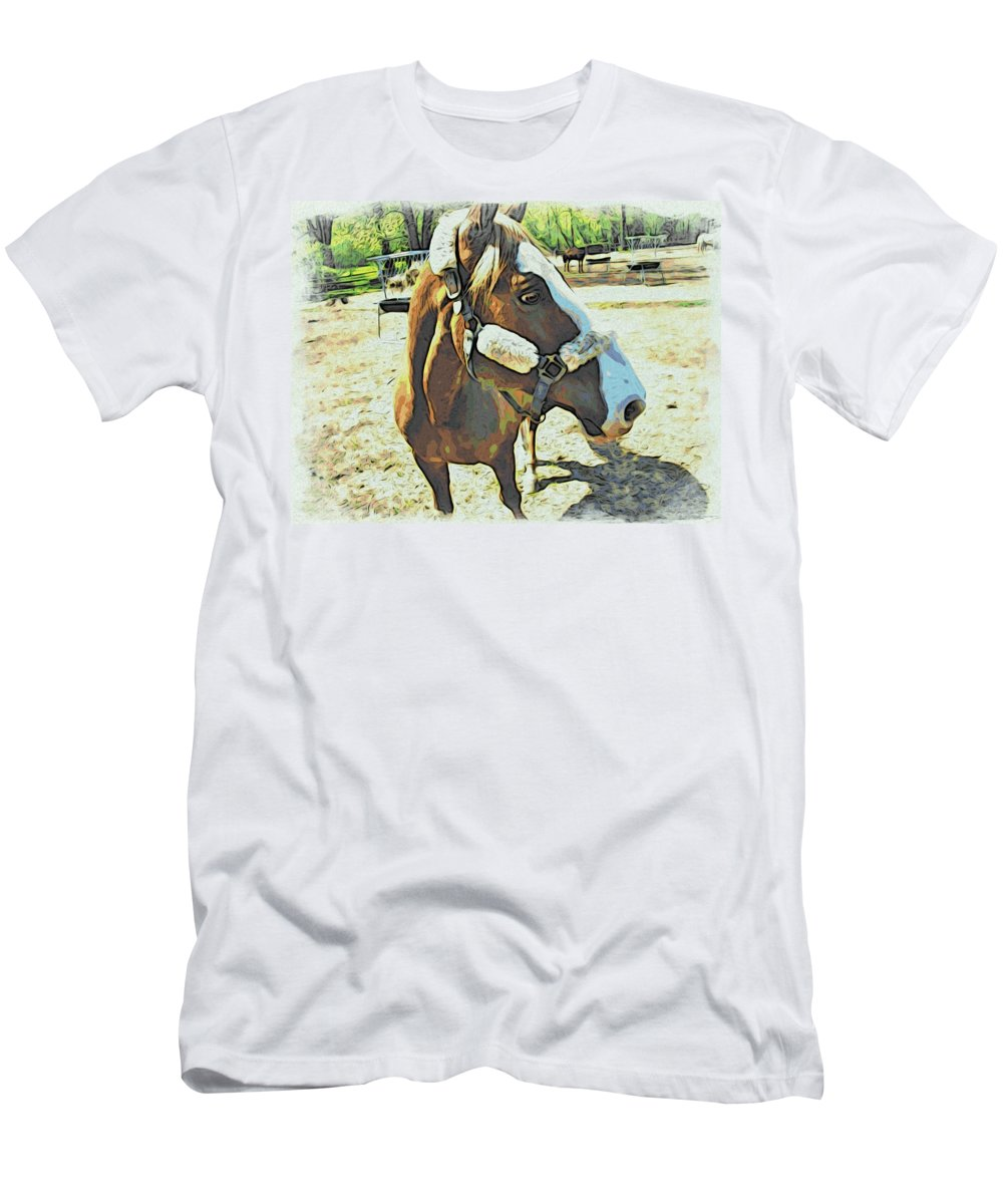 Horse Men's T-Shirt (Athletic Fit) featuring the photograph Horse Point Of View by Alice Gipson