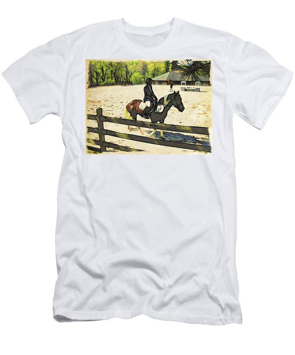 Horse Men's T-Shirt (Athletic Fit) featuring the photograph Horse Showing by Alice Gipson