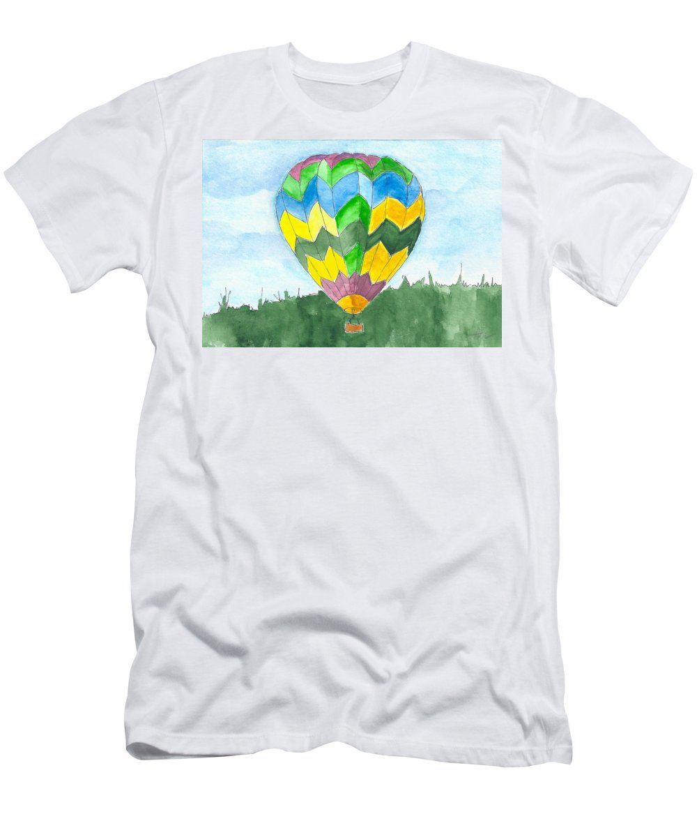 Hot Air Balloon Men's T-Shirt (Athletic Fit) featuring the painting Hot Air Balloon 01 by Judith Rice
