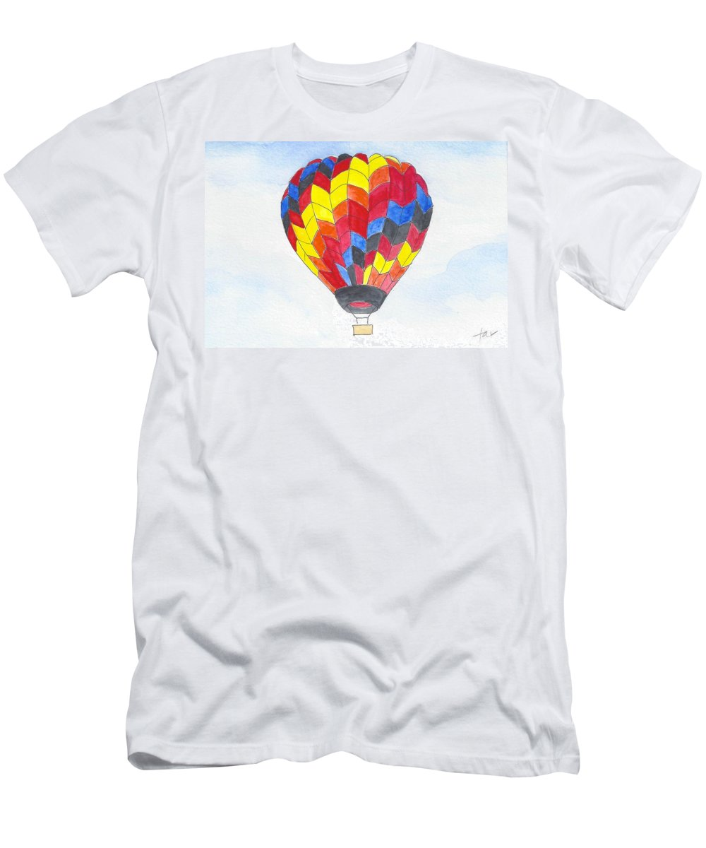 Hot Air Balloon Men's T-Shirt (Athletic Fit) featuring the painting Hot Air Balloon 05 by Judith Rice