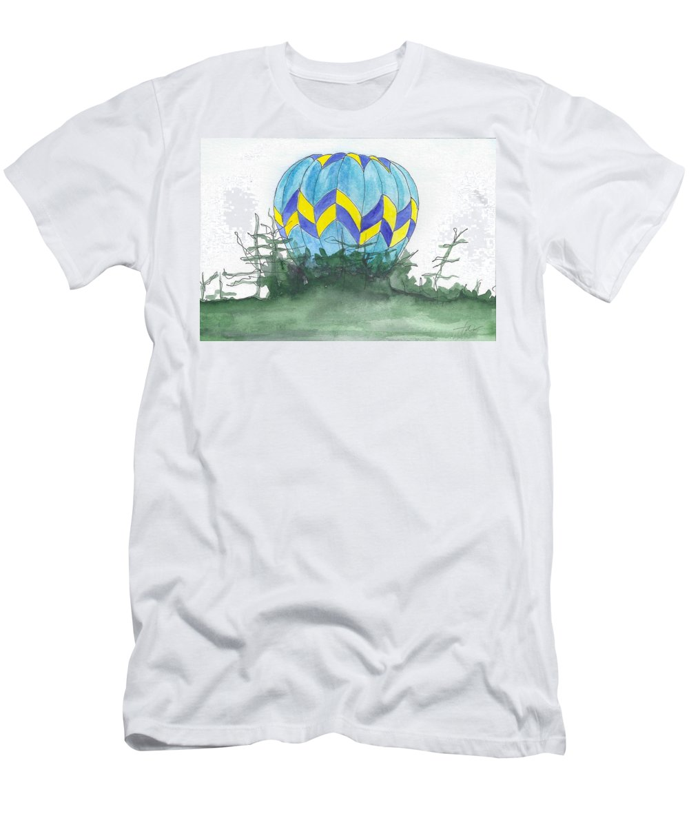 Hot Air Balloon Men's T-Shirt (Athletic Fit) featuring the painting Hot Air Balloon 09 by Judith Rice