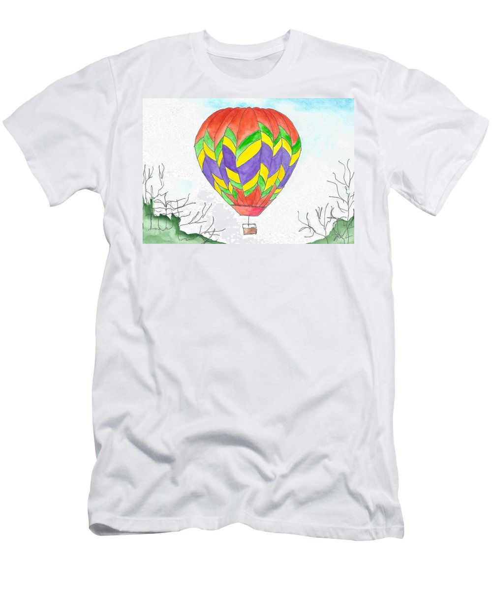 Hot Air Balloon Men's T-Shirt (Athletic Fit) featuring the painting Hot Air Balloon 10 by Judith Rice
