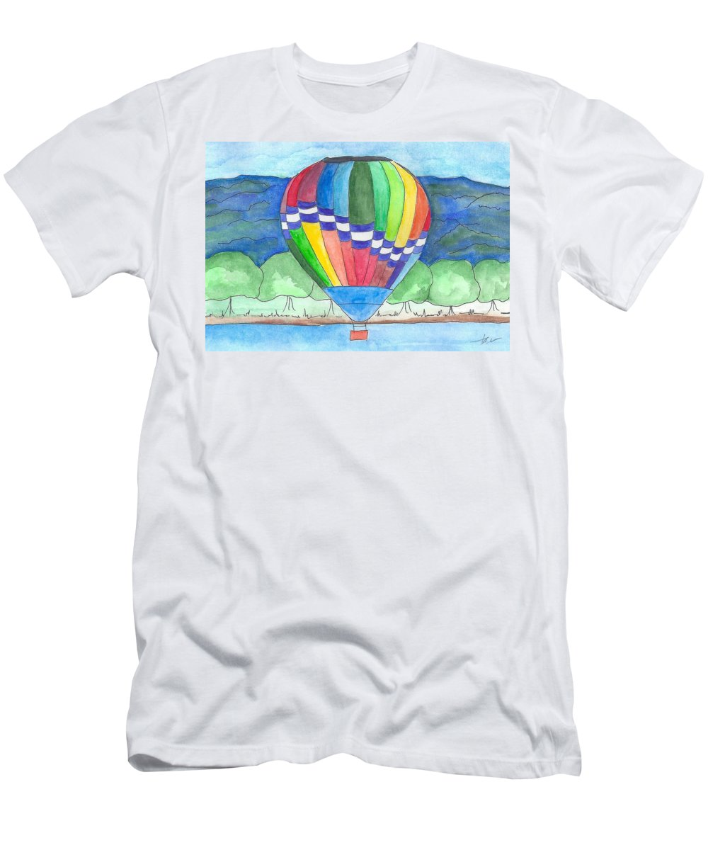 Hot Air Balloon Men's T-Shirt (Athletic Fit) featuring the painting Hot Air Balloon 11 by Judith Rice