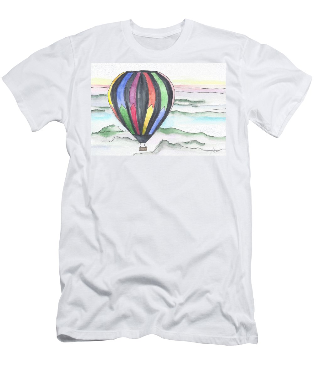 Hot Air Balloon Men's T-Shirt (Athletic Fit) featuring the painting Hot Air Balloon 12 by Judith Rice