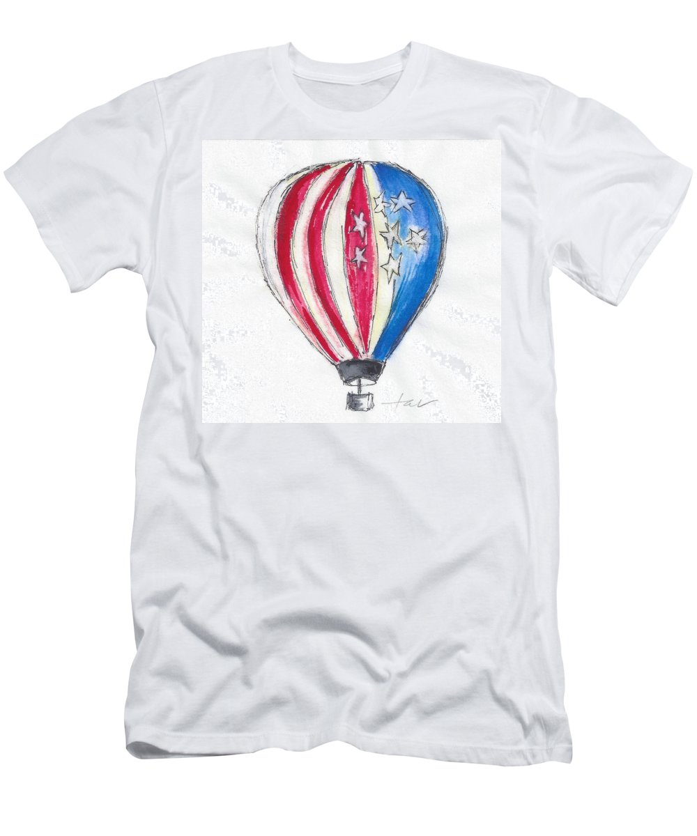 Hot Air Balloon Men's T-Shirt (Athletic Fit) featuring the painting Hot Air Balloon Misc 01 by Judith Rice