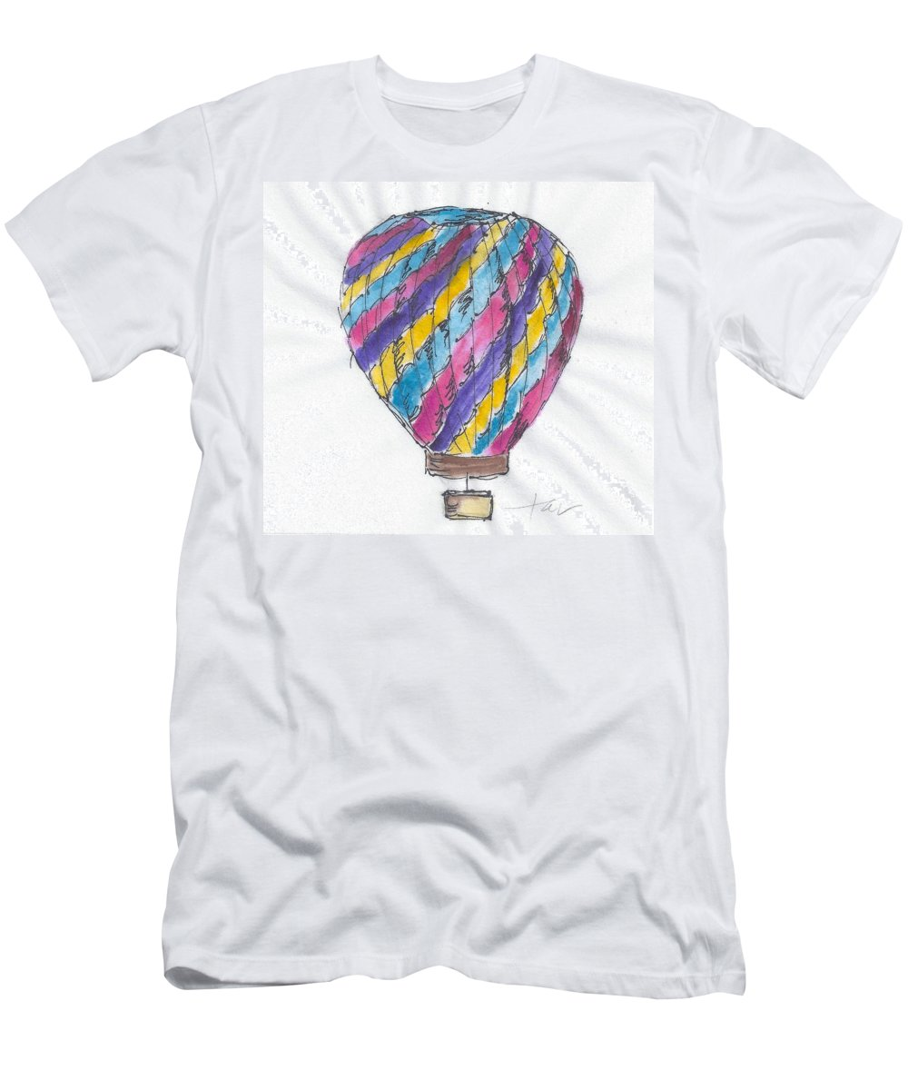 Hot Air Balloon Men's T-Shirt (Athletic Fit) featuring the painting Hot Air Balloon Misc 02 by Judith Rice