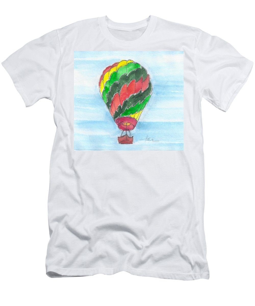 Hot Air Balloon Men's T-Shirt (Athletic Fit) featuring the painting Hot Air Balloon Misc 03 by Judith Rice