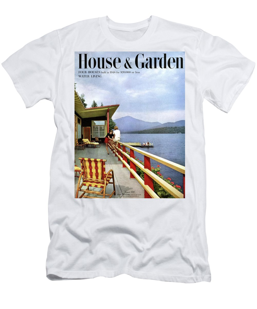 House & Garden T-Shirt featuring the photograph House & Garden Cover Of Women Sitting On The Deck by Robert M. Damora