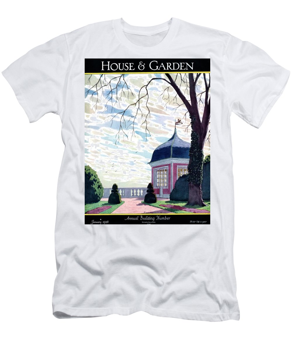 House And Garden Men's T-Shirt (Athletic Fit) featuring the photograph House And Garden Annual Building Number Cover by Pierre Brissaud