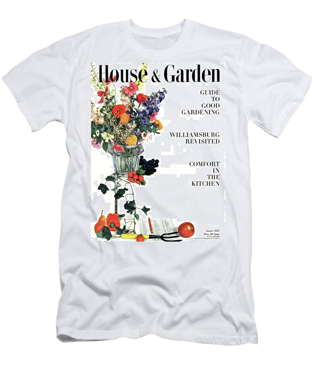 House And Garden Men's T-Shirt (Athletic Fit) featuring the photograph House And Garden Guide To Good Gardening Cover by Herbert Matter