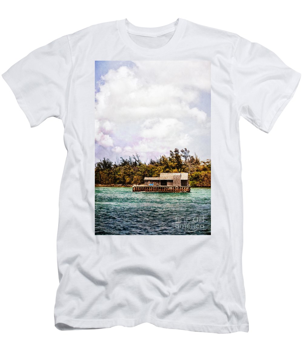 House; Houseboat; Water; Floating; Island; Deserted; Tropical; Waterfront; Bahamas; Shallow; Blue; Sky; Clouds; Deck; Trees; Building; Wood; Chairs; Outside; Outdoors; Exterior; Cottage; Home; Tropics; Ocean; Sea; Lake Men's T-Shirt (Athletic Fit) featuring the photograph House Boat by Margie Hurwich