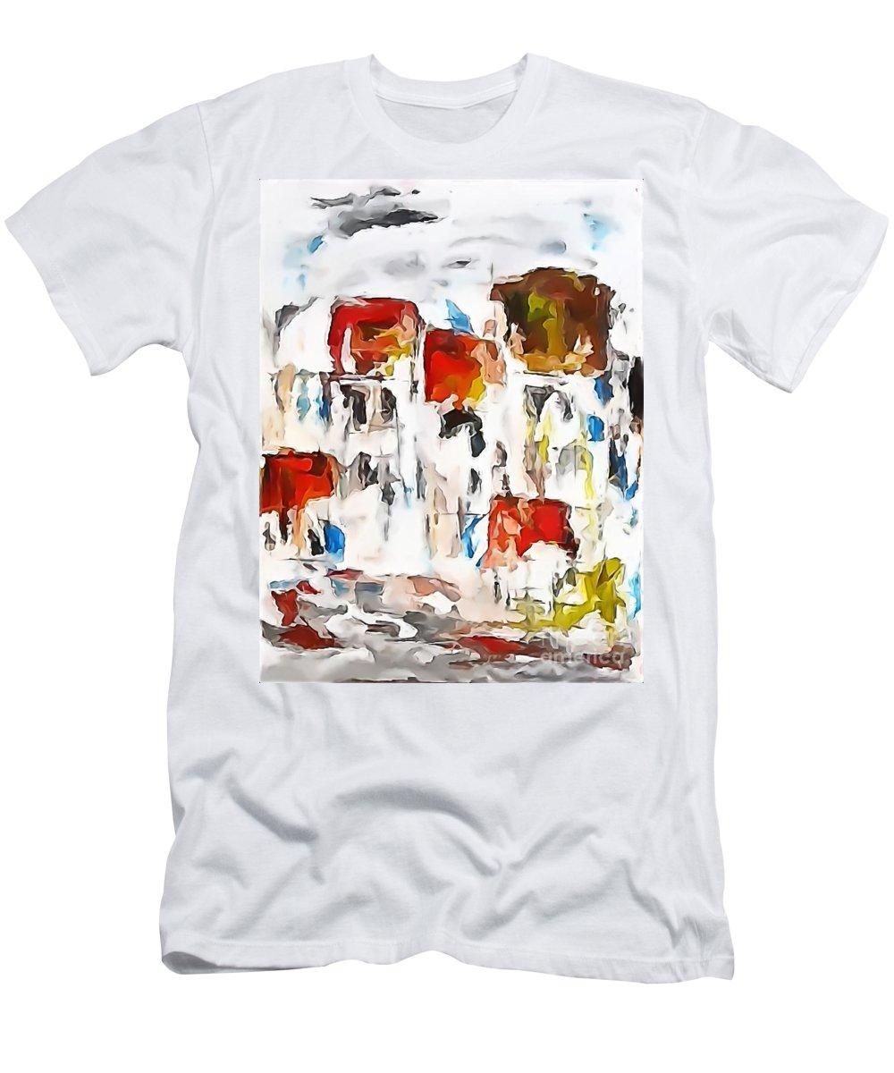 Graphics Men's T-Shirt (Athletic Fit) featuring the digital art Houses 0268 Marucii by Marek Lutek
