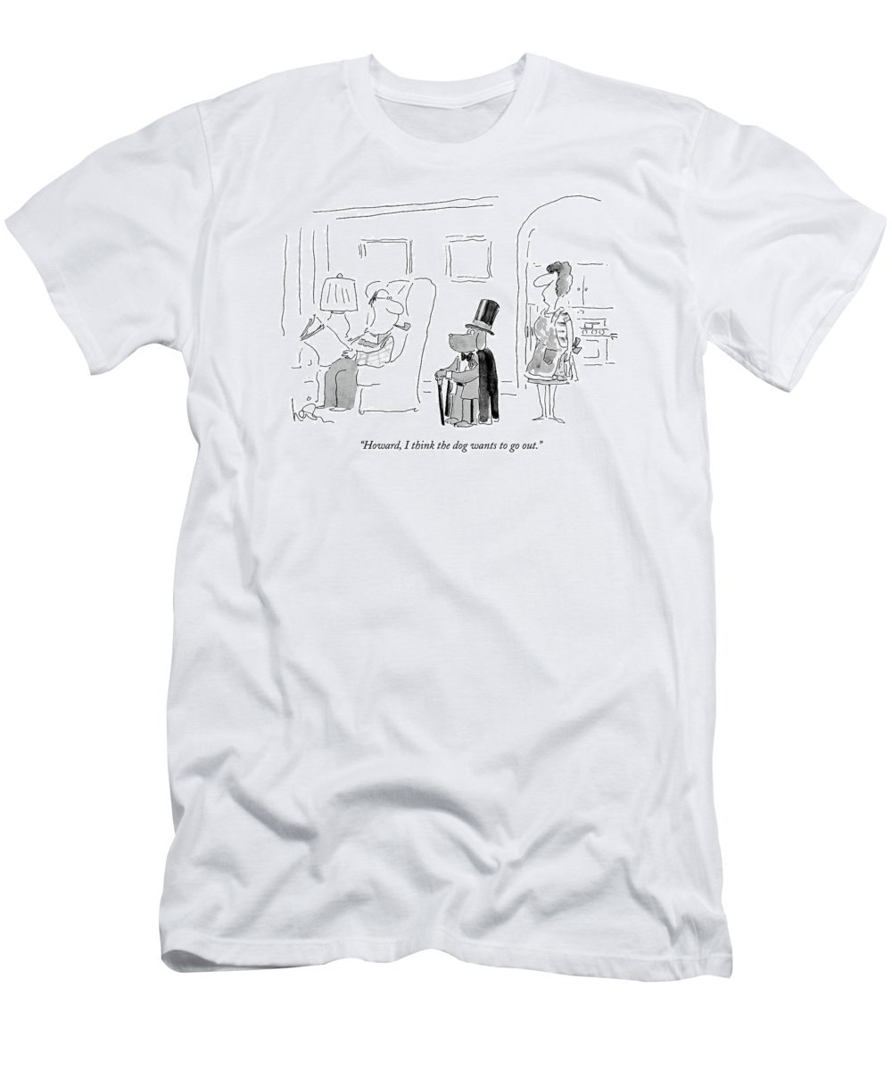 Leisure Men's T-Shirt (Athletic Fit) featuring the drawing Howard, I Think The Dog Wants To Go Out by Arnie Levin