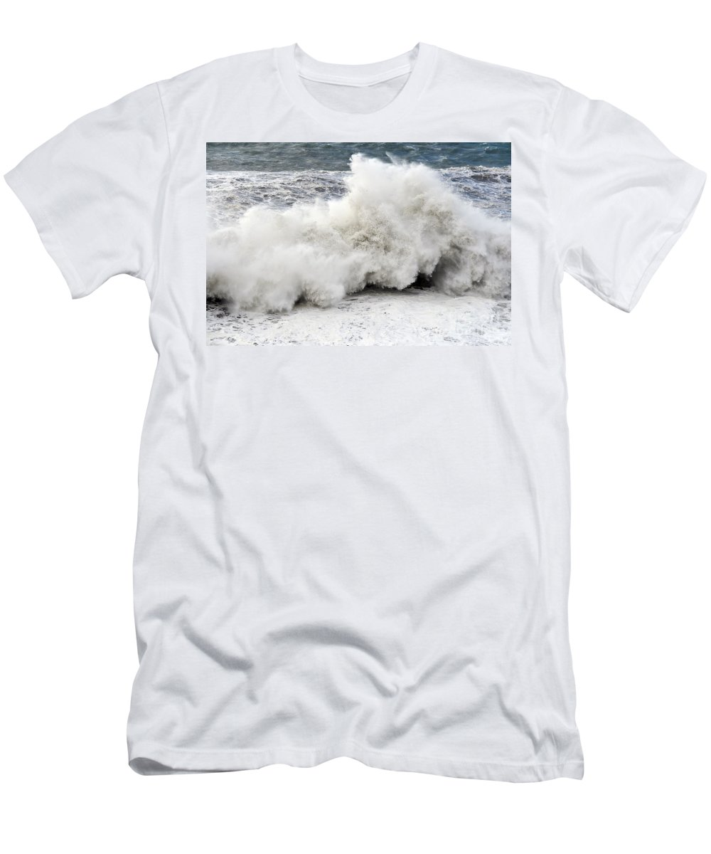 Agitated Men's T-Shirt (Athletic Fit) featuring the photograph Huge Wave by Antonio Scarpi