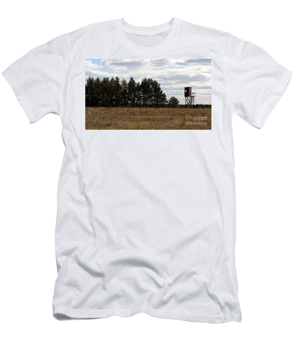 Agricultural Men's T-Shirt (Athletic Fit) featuring the photograph Hunter's Raised Blind In A Spring Field by Jannis Werner