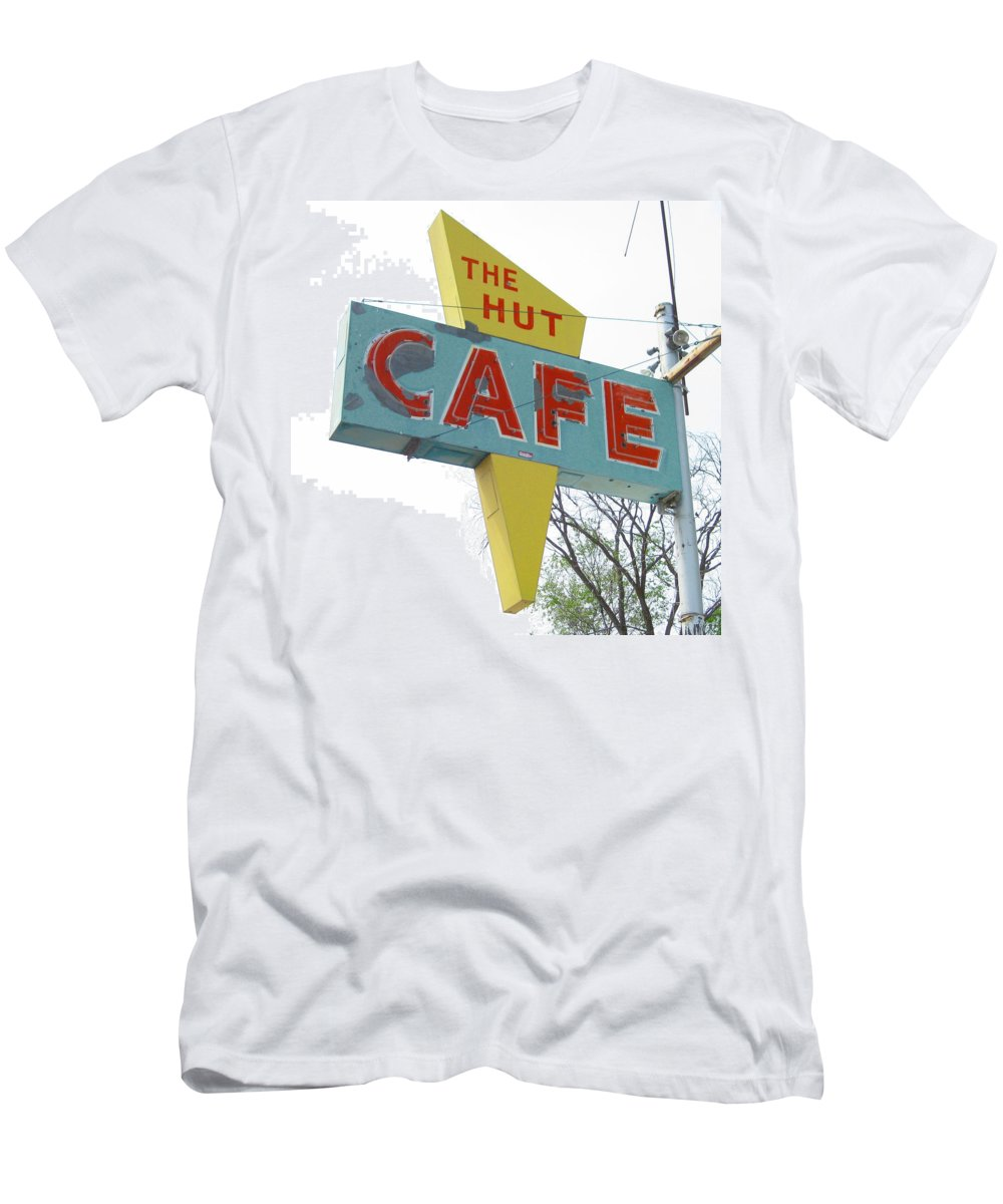 Mid Century Men's T-Shirt (Athletic Fit) featuring the photograph Hut Cafe by Larry Hunter